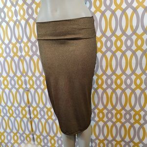 BEBE Pencil Skirt Stretchy Gold Size Small